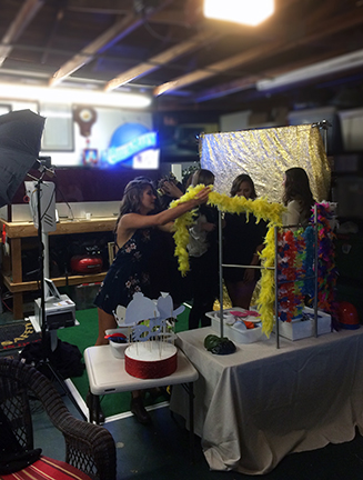 Annnd... Action! Photo Booth Open Booth safely tucked into hosts' garage.